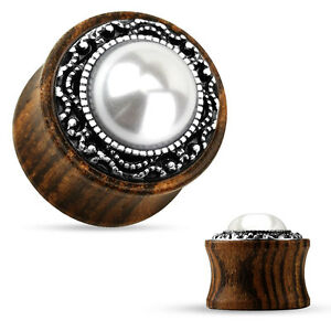 PAIR Imitation Pearl w/Tribal Pattern Casting Wood Saddle Plugs Body Jewelry
