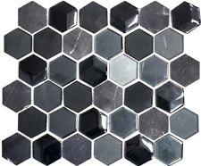Glas-/Natursteinmosaik Hexagonal mix 3D schwarz Fließen Art:11D-33 | 10 Matten