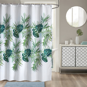 New Design Tropical Palm Leaf Bathroom Shower Curtain Waterproof With 12 Hook