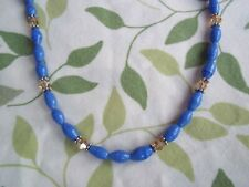 16 Inch BLUE Glass and TAN Crystal Bead SILVER Spacer Necklace CHOKER G-66