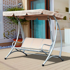 Outsunny Sling Fabric 3 Person Steel Outdoor Patio Porch Swing Chair With