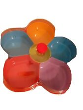New listing Nwb Party Tray Snack,Chip & dip bowl w/ Lid 6 removable inserts Large Colorful
