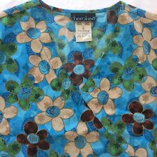 Small Cherokee Floral Print Scrub Top Aqua Turquoise Blue Flowers Nurse Uniform