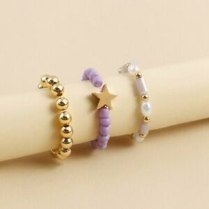 3Pcs/set Colorful Acrylic Beads Pearls Rings Finger Elastic Women Jewelry Gift