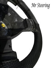 FITS FIAT PUNTO MK2 1999-2006 REAL BLACK PERFORATED LEATHER STEERING WHEEL COVER