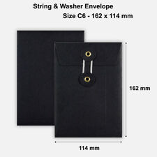 More details for c6 size quality string&washer without gusset envelope button tie black color