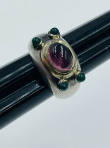 David Yurman Sterling Silver & 14k Gold Pink Tourmaline Renaissance Ring Size 5