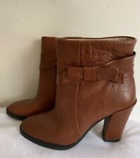 Kate Spade Mannie Brown Pebbled Leather Bow Ankle Boots Chestnut Brown Sz 6 1/2