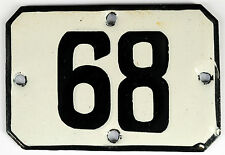 Railway carriage house number 68 door gate plate plaque enamel steel metal sign