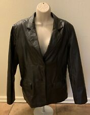 Chadwicks Black Leather Jacket Women Size 16 Button Up Long Sleeve Blazer Coat