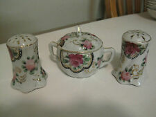 Hand Painted Kanetoku China Sugar Bowl w/Salt and Pepper shakers EXCELLENT