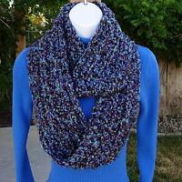 INFINITY SCARF LOOP COWL Blue Purple Black, Soft Handmade Crochet Winter Circle