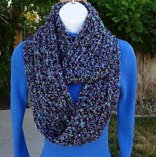 INFINITY SCARF LOOP COWL Blue Purple Black, Soft Handmade Crochet Winter Circle