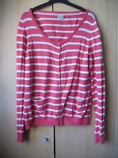 Ladies ESPRIT coton peach / white stripped long sleeved cardigan size XL