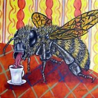 Bee at the coffee shop ceramic insect art tile picture coasters gifts