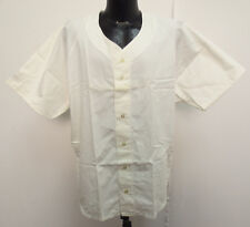 BASEBALL JERSEY WHITE PLAIN BUTTON UP DOWN RUSSELL ATHLETIC SOFTBALL NEW COOL