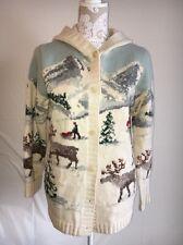 Ralph LAUREN Hand Knit Hooded Sweater Winter Pattern, Warm 100% Wool Size P/S
