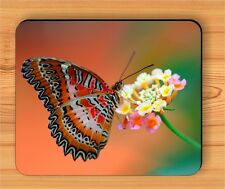 BUTTERFLY CLOSE UP ON WHITE  FLOWER MOUSE PAD -ser4Z