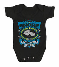 Boys/Girls Car Baby Grow - I don`t snore I dream I`m a MK1 Mini Classic 1950`s