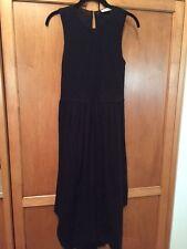 Ulla Johnson SZ 6 Black Sleeveless 100% Cotton Midi Dress w Smocked Front Bodice