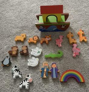 Noah's Ark Wooden Toy Boat Animals Orange Tree Toys