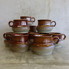 9 Mid Century Diana Pottery Safari Cups and Saucers Australian Pottery 1960s