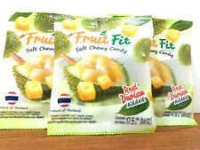 Real  Durian Fruit Fit Soft Chewy Candy Snack Dessert Product of Thailand X 3 Pc