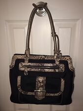 Brighton Textured Fabric Trimmed In Faux Python In Neutral Colors Handbag Purse