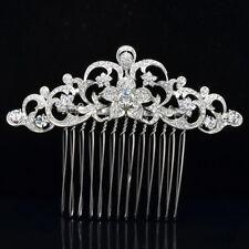 Clear Rhinestone Crystal Flower Hair Comb Bridal Bridesmaid Jewelry 2249r