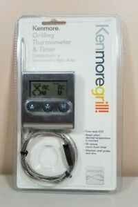 Kenmore Grill Grilling Thermometer & Timer Easy Read LCD Sealed