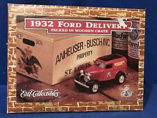 ERTL 1932 FORD PANEL DELIVERY TRUCK DIECAST BANK ANHEUSER BUSCH WOOD CRATE NIB