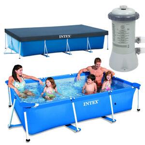 INTEX Family Swimming Pool Frame 300x200x75cm + Poolpumpe 2271l/h + Abdeckplane
