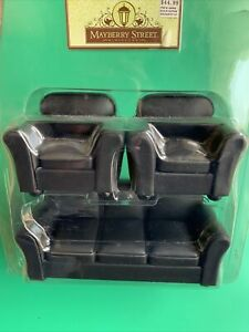 Mayberry Street Dollhouse Furniture Black Leather Sod Chair Set NWT $44.99 3pcs