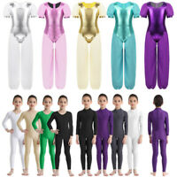 Kid Girl Ballet Dance Gymnastics Leotard Full Bodysuit Dancewear Catsuit Costume