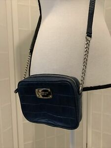 Michael Kors Patent Leather Navy Blue Small Crossbody Bag Handbag