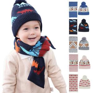 Kids Boys Girls Hat Scarf Set Children Winter Knitted Warm Hat Neck Warmer Gift