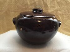 VINTAGE DARK BROWN STONEWARE HANDLED BEAN POT WITH LID MADE IN USA