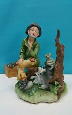 CAPODIMONTE GROUP FIGURE OF TRAMP AND HIS DOG BY A. CALLE. FROM ITALY