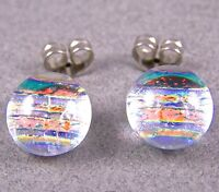 "DICHROIC GLASS EARRINGS Post Tiny 1/4"" 8mm Clear Copper Peach Striped Fused STUD"