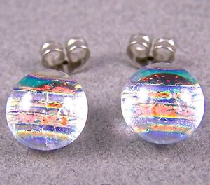"""DICHROIC GLASS EARRINGS Post Tiny 1/4"""" 8mm Clear Copper Peach Striped Fused STUD"""