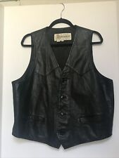 DEERSKIN black Leather Vest Mens XL, Lined, button front, biker, western