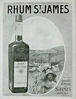 PUBLICITÉ 1930 PLANTATION RHUM ST JAMES LES CÉLÉBRES GRANDS CRUS - ANTILLES