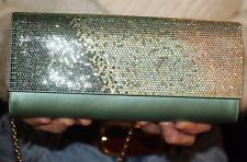Judith Leiber Ritz Fizz Envelope Clutch Swarovski Crystals OMBRE BLUE GREEN BAG