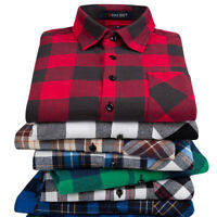 Men Flannel Plaid Shirt Casual Long Sleeve Cotton Dress Shirts Button Down Tops