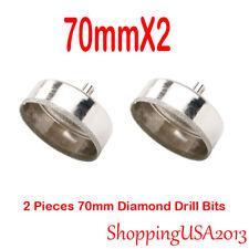 2X 70mm Diamond Coated Drill Bits Set Hole Saw Cutter Tool Glass Granite Ceramic
