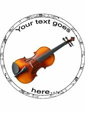 Violin music instrument personalised Edible Cake Topper Wafer / Icing Decoration