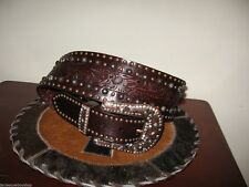 Western Leather Ladies Designer Belt Cowgirl Rodeo Belt Med Wide Brown Leather