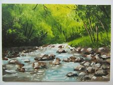 ACEO Original Acrylic Painting Landscape Flowing From The Woods by Joan Hutson