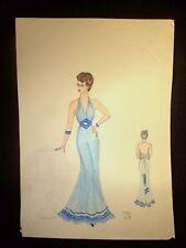 Blue Party Girl 1946-59 Original Watercolor Sketch By C. Schattauer Kelm Artist: