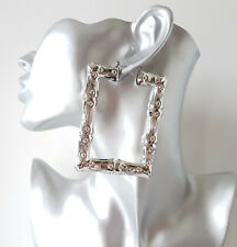Gorgeous 8cm SILVERtone square bamboo creole hoop earrings Big Celebrity fashion